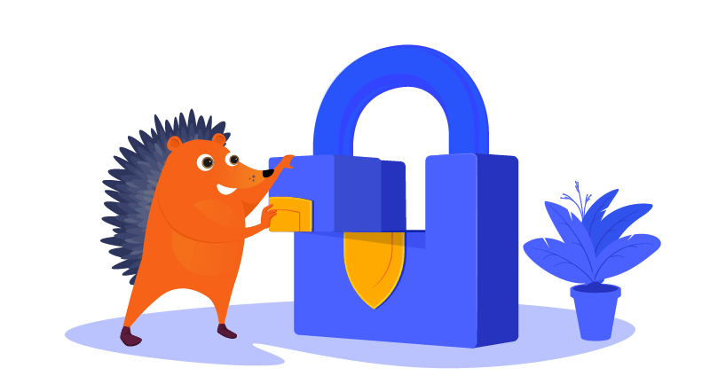 hedgehog completing a lock suggesting privacy
