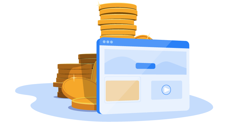 website in front of stack of coins