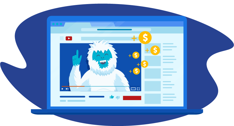 Yeti on YouTube surrounded by dollar signs