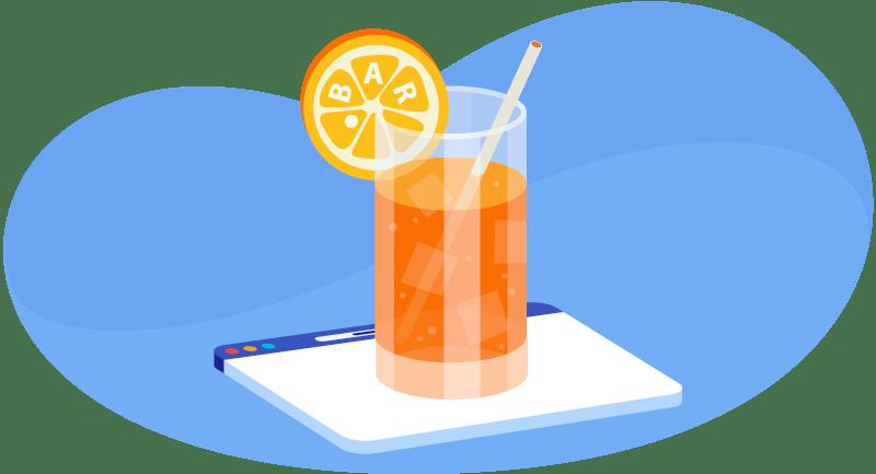 fresh drink with .bar on the orange slice