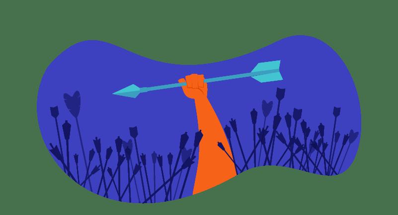hedgehog raising an arrow overhead