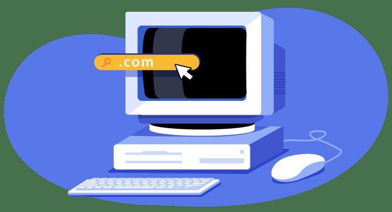 computer displaying a domain