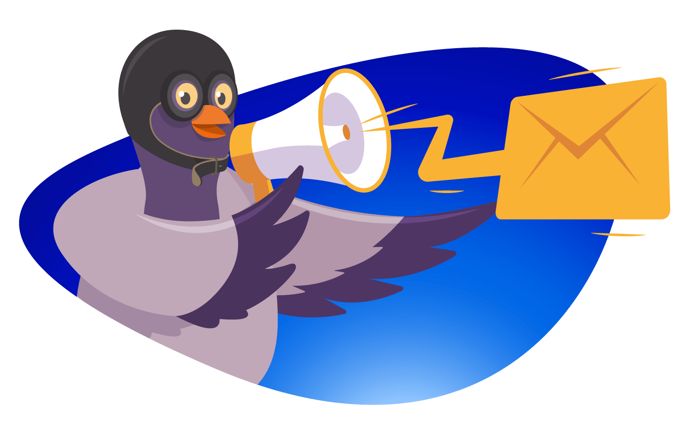 pigeon with megaphone announcing email