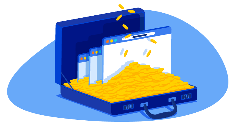 a briefcase filled with cryptocurrency 'coins' and websites