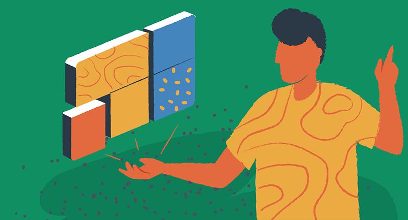 Illustration of person adjusting Gutenberg blocks