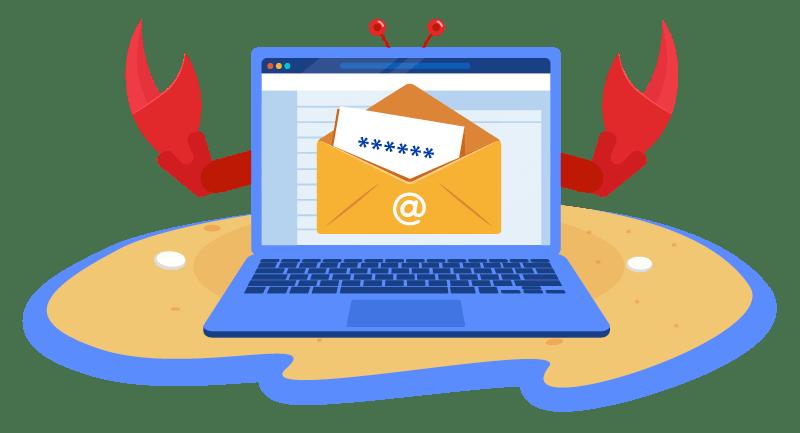 phishing email on laptop