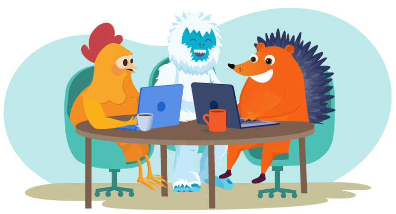 Hedgehog and chicken working with their yeti client