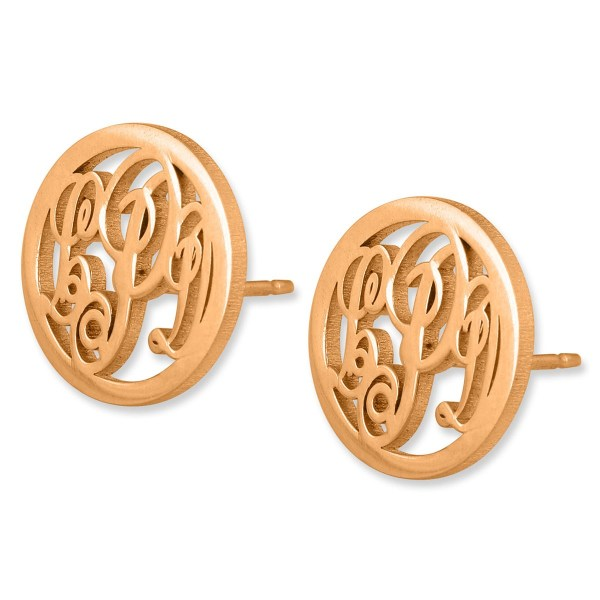 24k Rose Gold Plated Silver Circular Monogram Personalized