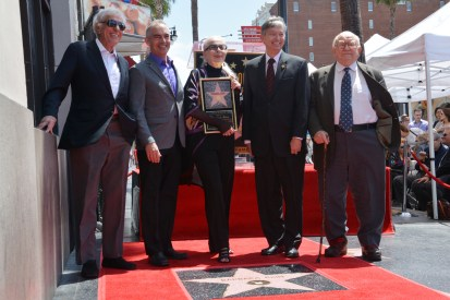 Actor Dick Van Dyke, Los Angeles City Councilman Mitch O'Farrell, Barbara Bain, President and CEO of the Hollywood Chamber of Commerce Leron Gubler, and actor and activist Ed Asner unveil Barbara Bain's star at 6767 Hollywood Blvd., Hollywood, CA. Photo: Copyright (c) 2016 by Van L. Ta. All rights reserved. Used with permission.