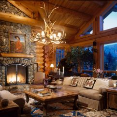Log Home Living Room Decorating Ideas Interior Design For Rooms Pictures Cabin And Great North American Crafters With 26 Foot Ceilings The Below Could Feel Cavernous But Spectacular Trusses Become Decorative Elements Providing Character Structural