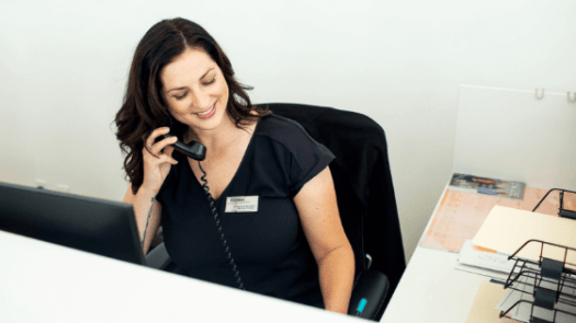 Receptionist Talking on the Phone