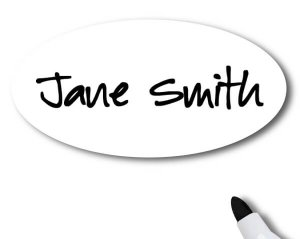 "Dry Erase Name Tag with ""Jane Smith"""