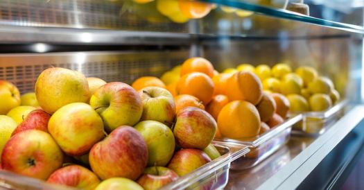 Apples, Oranges, & Lemons In Clear Plastic Buckets