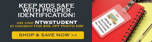 Save 20% on Photo IDs with Code NTWSTUDENT at Name Tag Wizard, School Bus Badges Resting on Red Notebook