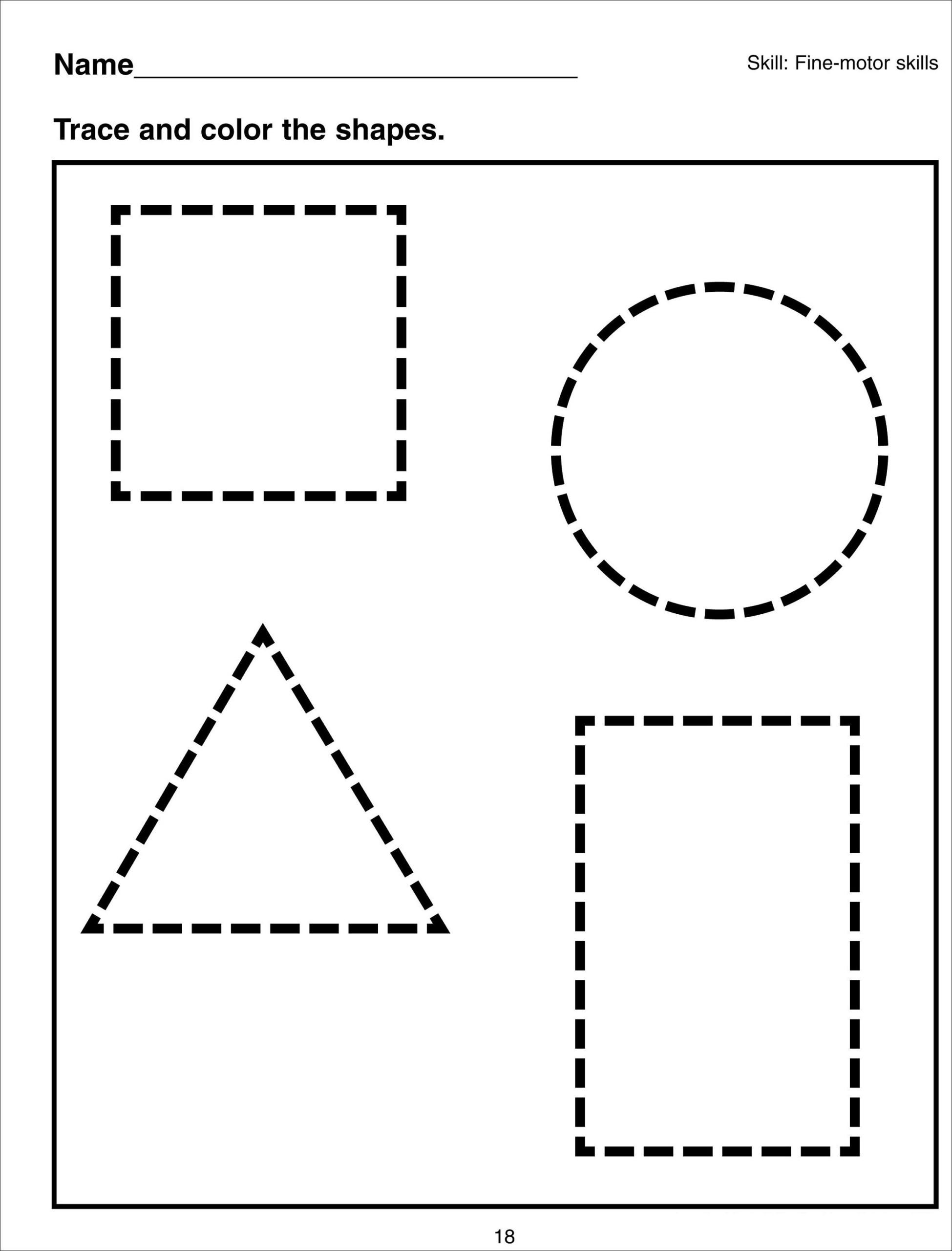 Preschool Shapes Tracing Worksheets