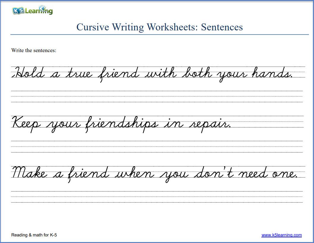Sentence Cursive Tracing Worksheets