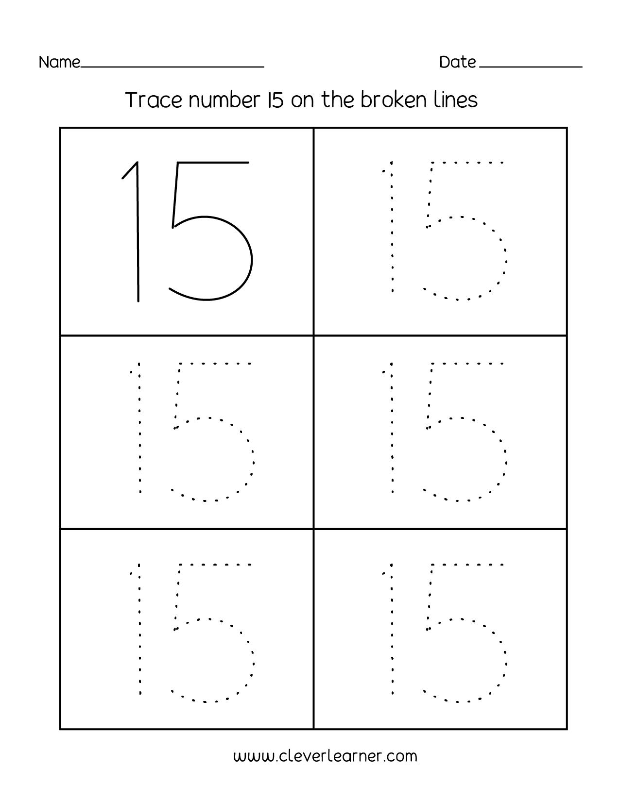 Number Tracing Worksheets 11 15