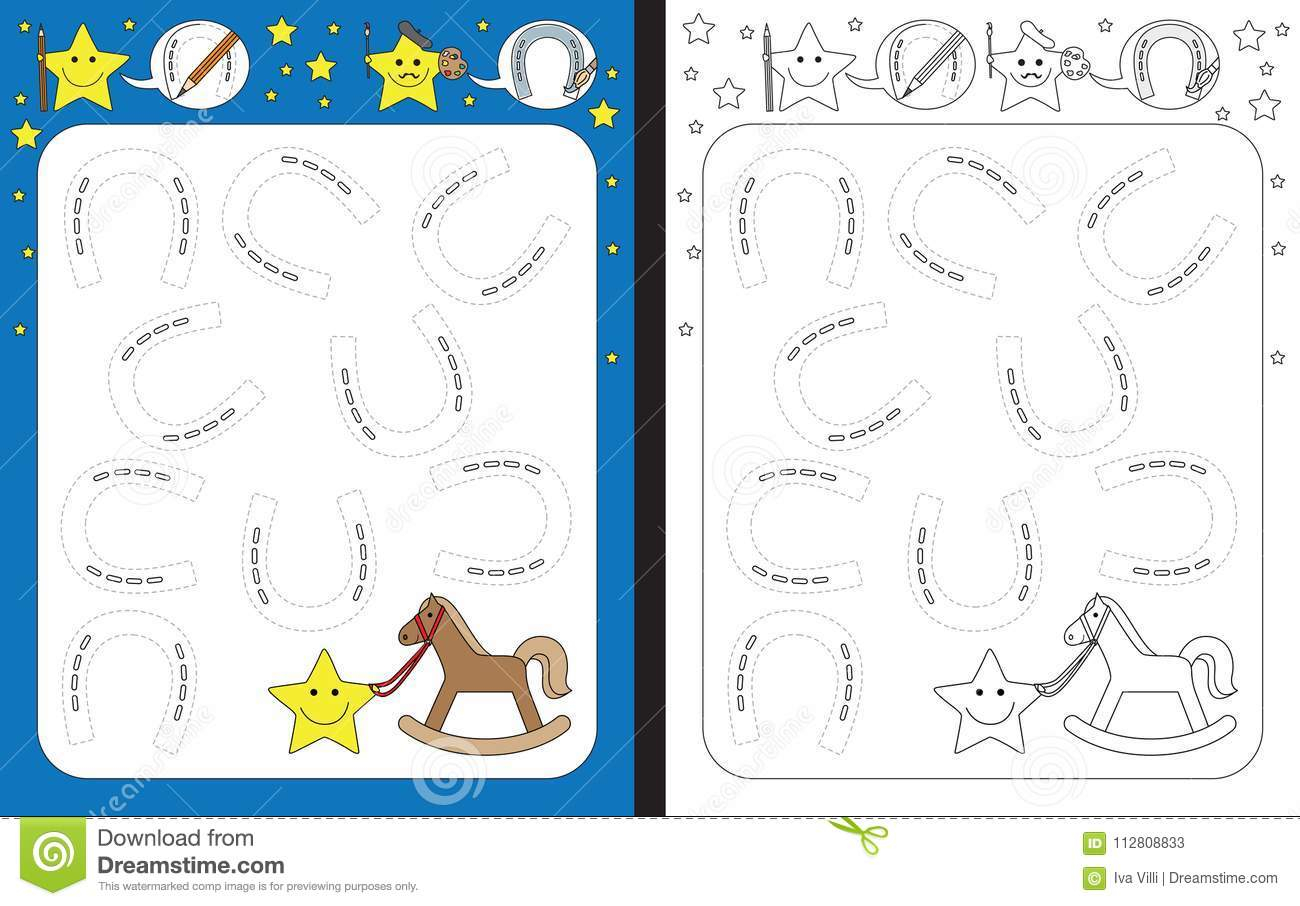 Horseshoe Tracing Worksheet