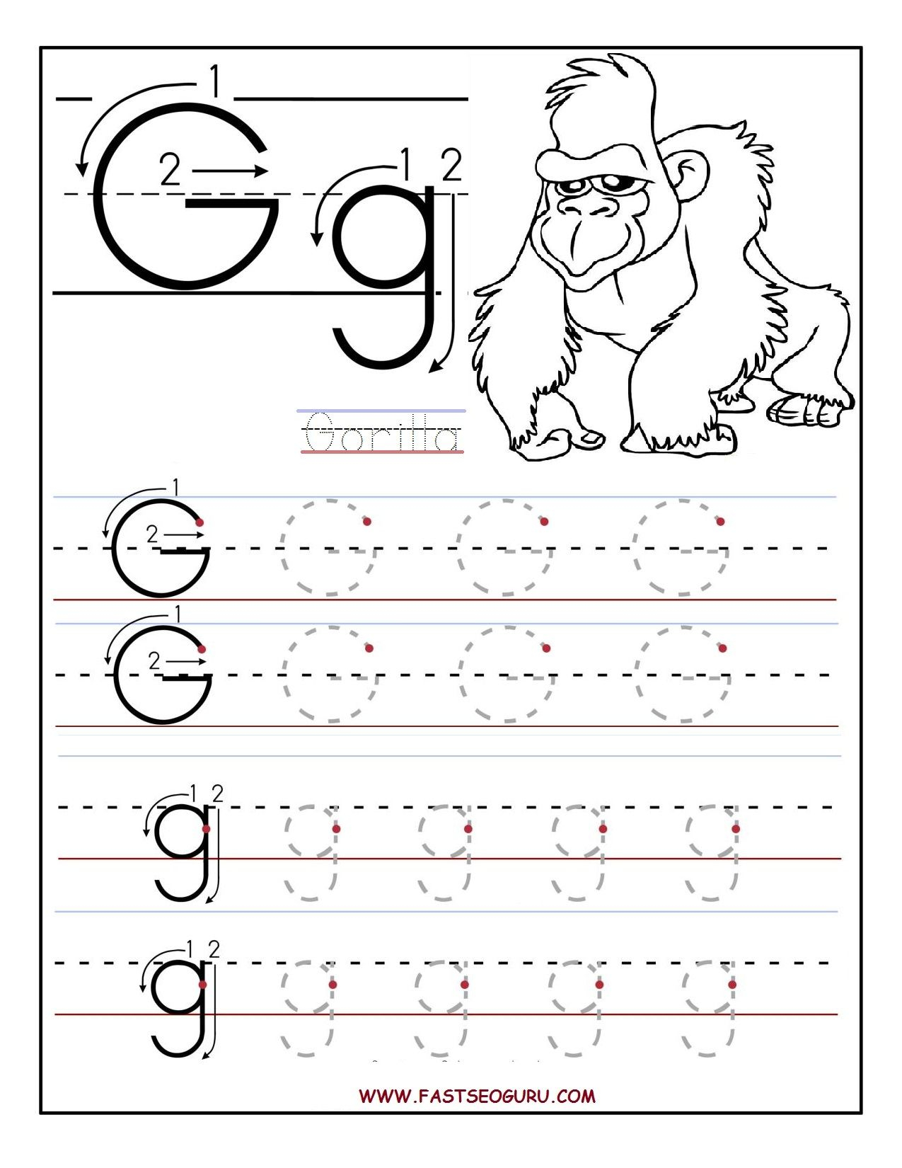 Lowercase Letter G Tracing Worksheets For Preschool