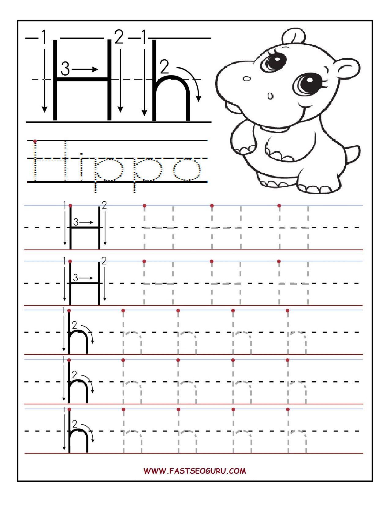 Letter Tracing Worksheets Letter H