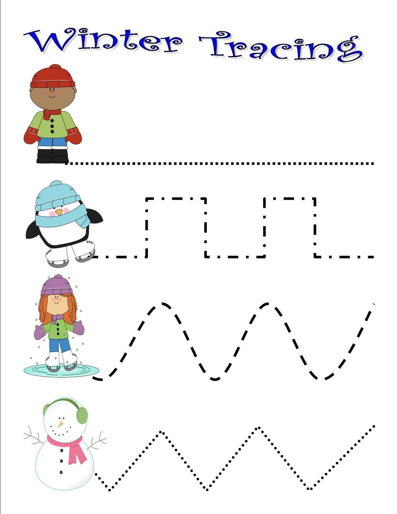 Preschool Winter Tracing Worksheets