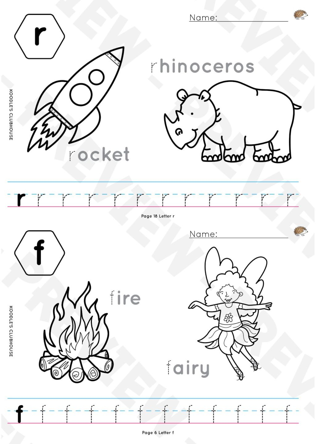 Animal Word Tracing Worksheets