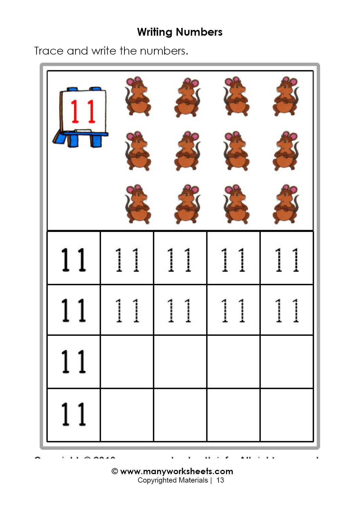 Tracing Numbers 11 20 Worksheets Free Download