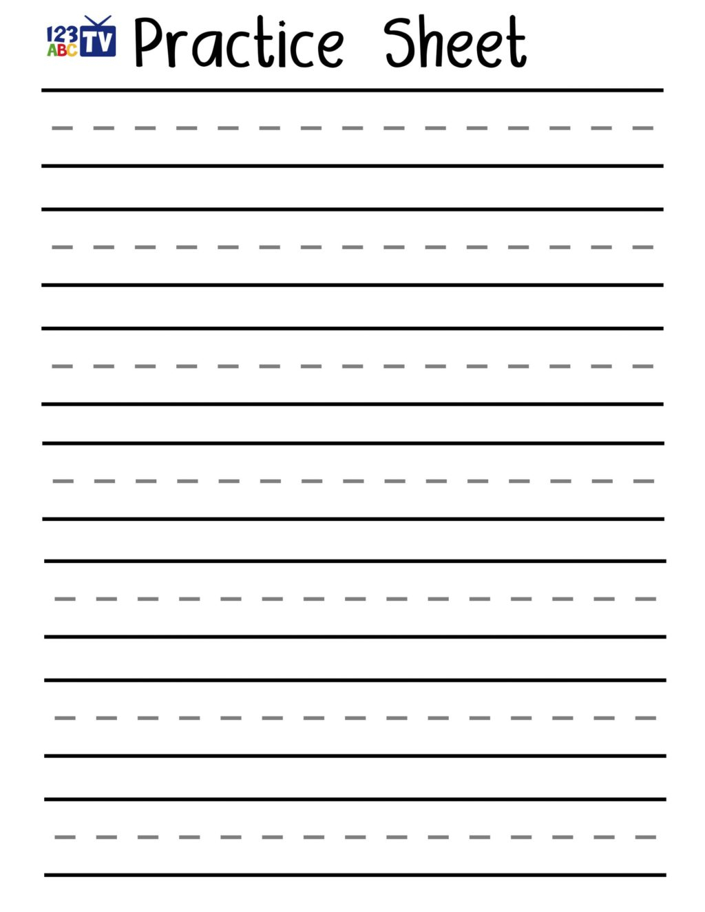 Blank Tracing Letters Worksheet