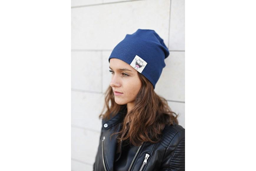 Patogi rudeninė kepurė su nuotaikomis - Dvipusė Juoda/Mėlyna