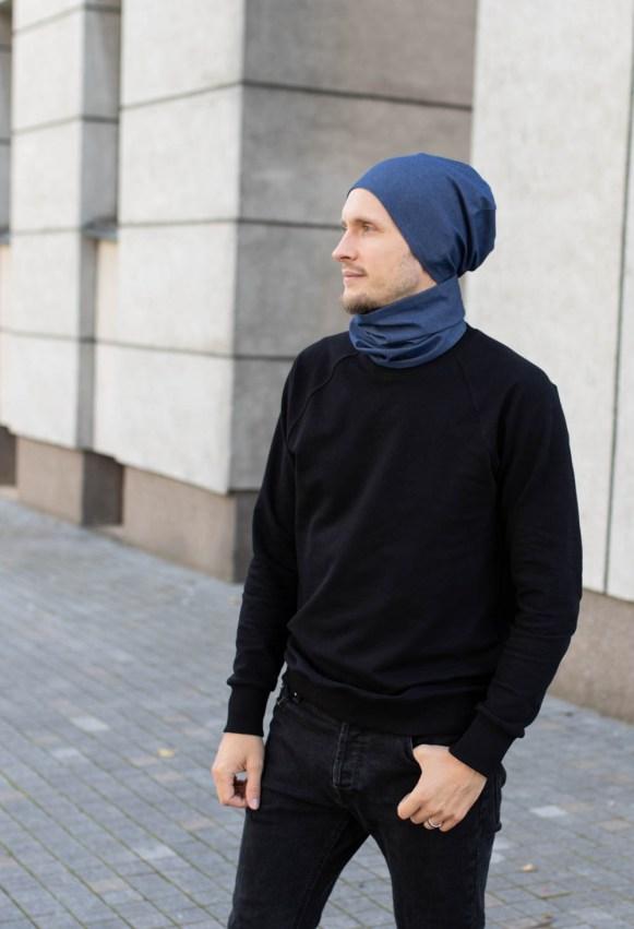Vienguba mėlyna kepurė - XXS-L dydžiai