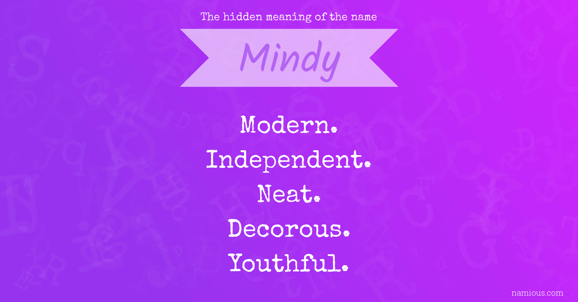 The hidden meaning of the name Mindy | Namious