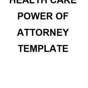 NE0124 Health Care Power Of Attorney Template