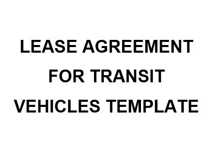 NE0156 Lease Agreement For Transit Vehicles Template