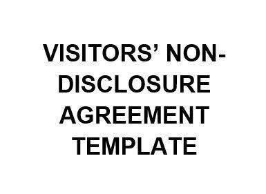 NE0228 VISITORS NON DISCLOSURE AGREEMENT TEMPLATE