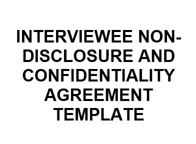NE0247 Interviewee Non-Disclosure and Confidentiality