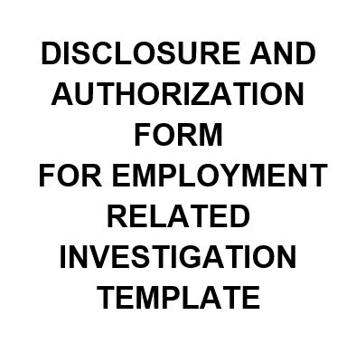 NE0254 DISCLOSURE AND AUTHORIZATION FORM FOR EMPLOYMENT