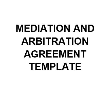 NE0255 Mediation and Arbitration Agreement Template