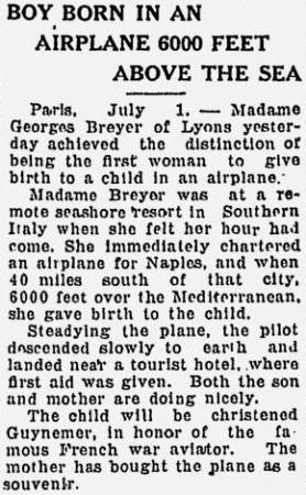 Guynemer, Providence News, 1922