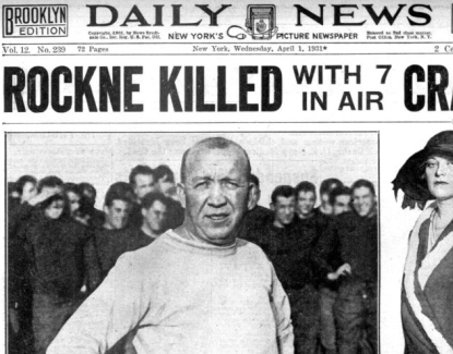 Rockne killed, newspaper headline