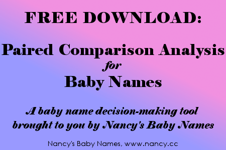 Free Download, Paired Comparison Analysis for Baby Names, from Nancy's Baby Names