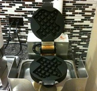 Our hotel in Kansas had a waffle-maker in the shape of Texas.