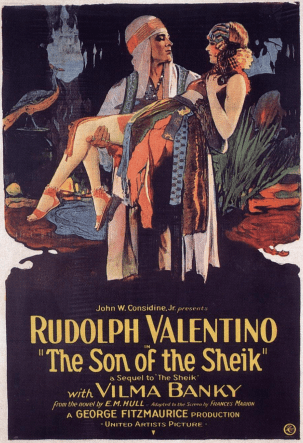rudolph valentino, vilma banky, the son of the sheik, movie poster