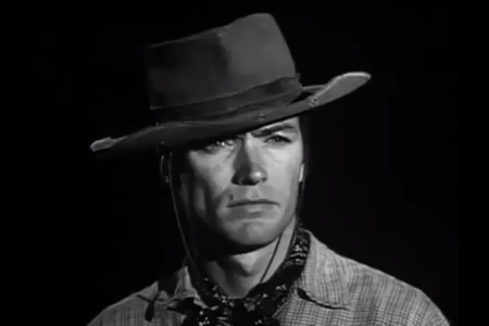 """The character Rowdy Yates (played by Clint Eastwood) from the TV series """"Rawhide"""" (1959-1966)."""