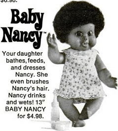 shindana doll, baby nancy, 1970s, baby name