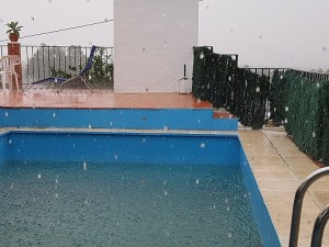 Raining into a swimming pool