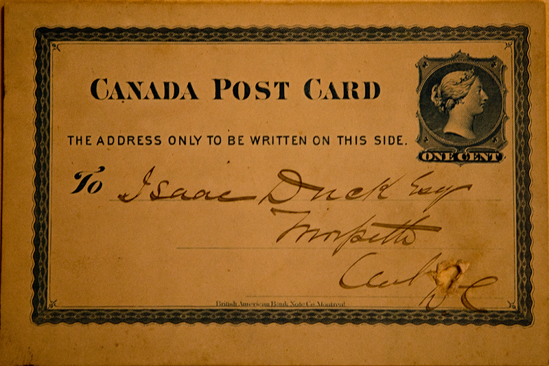 Postcard sent from Chatham, ON in 1879 to my ancestor's brother, Isaac Duck.