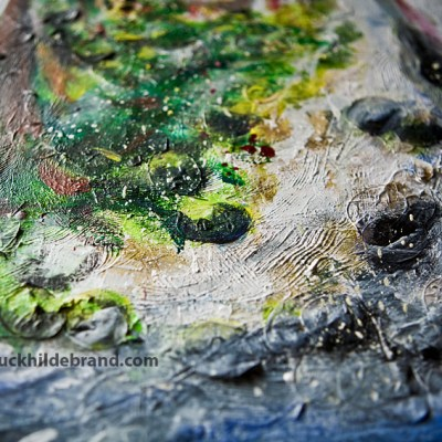 Detail of rocks, made with silver dollar plants that I collaged in to add texture. I always like to put some plant matter into my paintings.