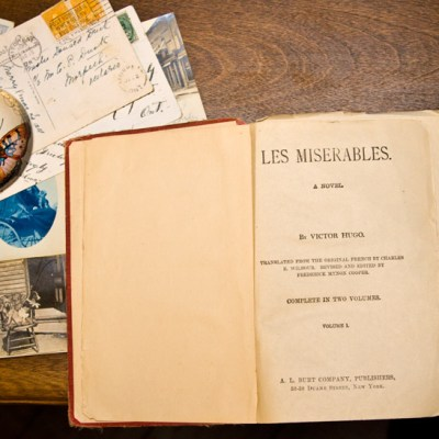 Title page of Les Miserables, complete in two volumes, c. 1910.