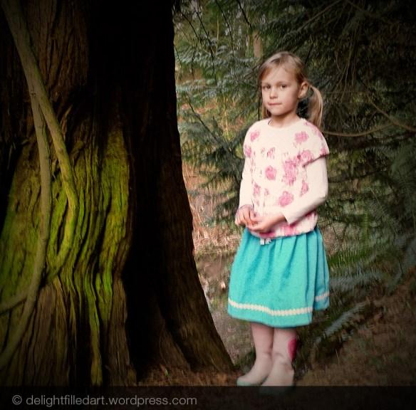 children's fashion skirt in forest