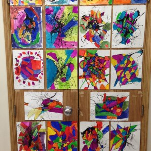 Finished Grade 1 & 2 students' artwork